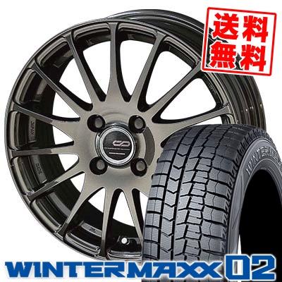 155/65R14 DUNLOP ダンロップ WINTER MAXX 02 WM02 ウインターマックス 02 ENKEI CREATIVE DIRECTION CDF1 エンケイ クリエイティブ ディレクション CD-F1 スタッドレスタイヤホイール4本セット