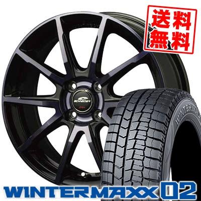 185/55R15 DUNLOP ダンロップ WINTER MAXX 02 WM02 ウインターマックス 02 SCHNEIDER DR-01 シュナイダー DR-01 スタッドレスタイヤホイール4本セット
