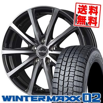195/60R16 DUNLOP ダンロップ WINTER MAXX 02 WM02 ウインターマックス 02 EuroSpeed V25 ユーロスピード V25 スタッドレスタイヤホイール4本セット