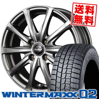 155/55R14 DUNLOP ダンロップ WINTER MAXX 02 WM02 ウインターマックス 02 EuroSpeed V25 ユーロスピード V25 スタッドレスタイヤホイール4本セット