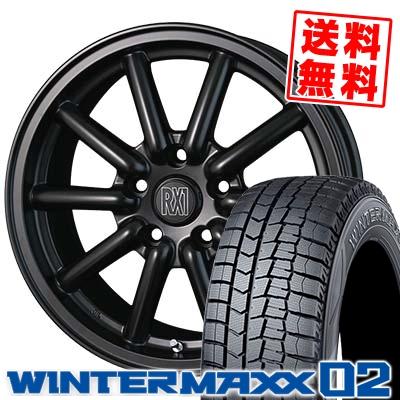 195/65R16 DUNLOP ダンロップ WINTER MAXX 02 WM02 ウインターマックス 02 ALGERNON Fenice RX1 アルジェノン フェニーチェ RX1 スタッドレスタイヤホイール4本セット