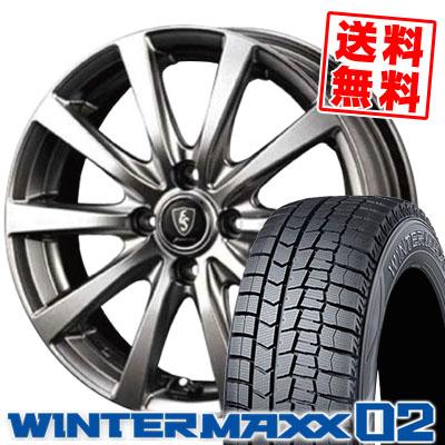 195/55R15 DUNLOP ダンロップ WINTER MAXX 02 WM02 ウインターマックス 02 Euro Speed G10 ユーロスピード G10 スタッドレスタイヤホイール4本セット