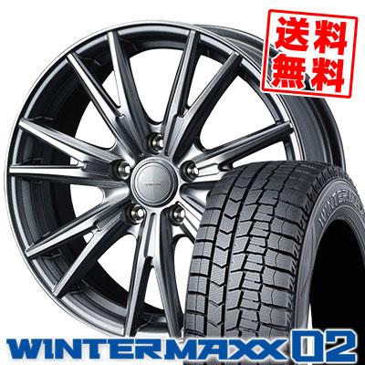 195/65R15 91Q DUNLOP ダンロップ WINTER MAXX 02 WM02 ウインターマックス 02 VELVA KEVIN ヴェルヴァ ケヴィン スタッドレスタイヤホイール4本セット