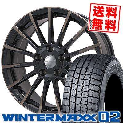 215/50R17 DUNLOP ダンロップ WINTER MAXX 02 WM02 ウインターマックス 02 Leyseen F-XV レイシーン FX-V スタッドレスタイヤホイール4本セット