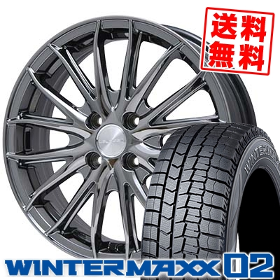 145/65R15 DUNLOP ダンロップ WINTER MAXX 02 WM02 ウインターマックス 02 Leyseen SP-M レイシーン SP-M スタッドレスタイヤホイール4本セット