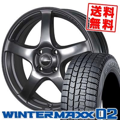 155/65R14 DUNLOP ダンロップ WINTER MAXX 02 WM02 ウインターマックス 02 PIAA Eleganza S-01 PIAA エレガンツァ S-01 スタッドレスタイヤホイール4本セット