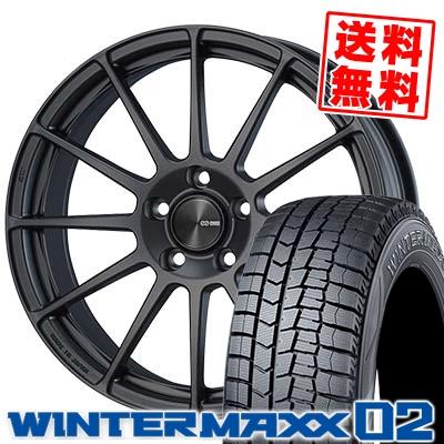 235/45R18 DUNLOP ダンロップ WINTER MAXX 02 WM02 ウインターマックス 02 ENKEI PF03 エンケイ PF03 スタッドレスタイヤホイール4本セット
