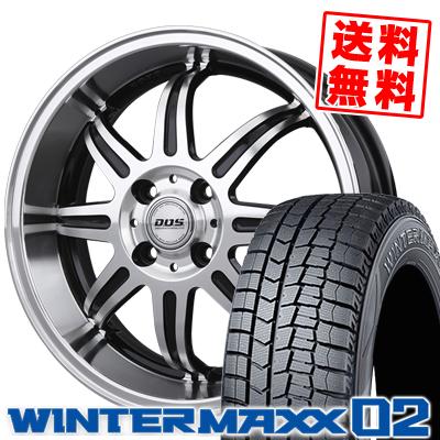165/55R15 DUNLOP ダンロップ WINTER MAXX 02 WM02 ウインターマックス 02 BADX D.O.S. DEEP RIVAGE バドックス D.O.S ディープリヴァージュ スタッドレスタイヤホイール4本セット