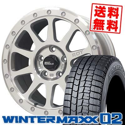 215/55R16 DUNLOP ダンロップ WINTER MAXX 02 WM02 ウインターマックス 02 THE ROT WHEELS RO401 THE ROTホイール RO401 スタッドレスタイヤホイール4本セット
