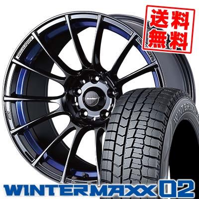 235/45R18 DUNLOP ダンロップ WINTER MAXX 02 WM02 ウインターマックス 02 WedsSport SA-72R ウェッズスポーツ SA-72R スタッドレスタイヤホイール4本セット【取付対象】