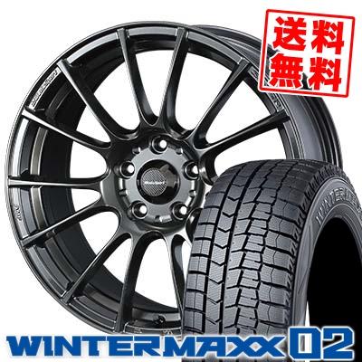 205/65R16 DUNLOP ダンロップ WINTER MAXX 02 WM02 ウインターマックス 02 WedsSport SA-72R ウェッズスポーツ SA-72R スタッドレスタイヤホイール4本セット
