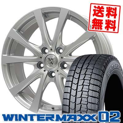195/65R15 91Q DUNLOP ダンロップ WINTER MAXX 02 WM02 ウインターマックス 02 TRG-SILBAHN TRG シルバーン スタッドレスタイヤホイール4本セット
