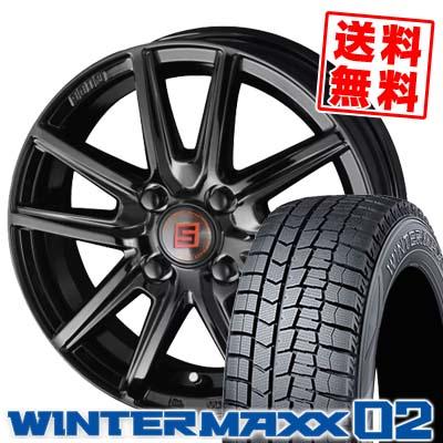 155/65R14 75Q DUNLOP ダンロップ WINTER MAXX 02 WM02 ウインターマックス 02 SEIN SS BLACK EDITION ザイン エスエス ブラックエディション スタッドレスタイヤホイール4本セット