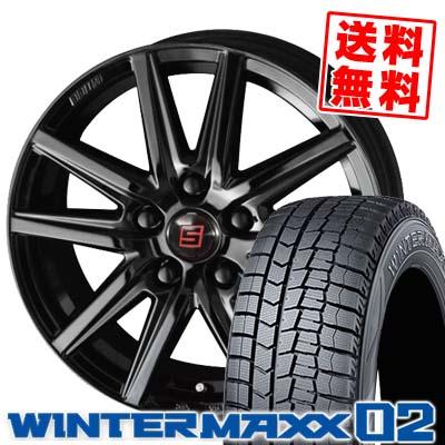 195/60R16 89Q DUNLOP ダンロップ WINTER MAXX 02 WM02 ウインターマックス 02 SEIN SS BLACK EDITION ザイン エスエス ブラックエディション スタッドレスタイヤホイール4本セット
