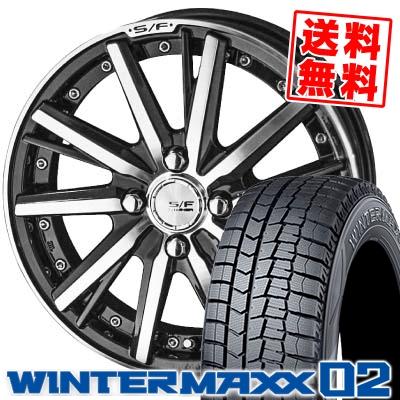 185/60R15 DUNLOP ダンロップ WINTER MAXX 02 WM02 ウインターマックス 02 STEINER FORCED SERIES SF-V シュタイナー フォースドシリーズ SF-V スタッドレスタイヤホイール4本セット