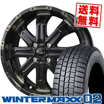 165/60R15 DUNLOP ダンロップ WINTER MAXX 02 WM02 ウインターマックス 02 BADX LOXARNY BATTLESHIP4 バドックス ロクサーニ バトルシップ4 スタッドレスタイヤホイール4本セット
