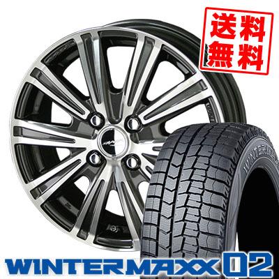 185/55R15 DUNLOP ダンロップ WINTER MAXX 02 WM02 ウインターマックス 02 SMACK SPARROW スマック スパロー スタッドレスタイヤホイール4本セット