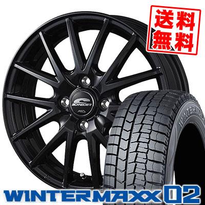 185/65R14 86Q DUNLOP ダンロップ WINTER MAXX 02 WM02 ウインターマックス 02 SCHNEIDER SQ27 シュナイダー SQ27 スタッドレスタイヤホイール4本セット