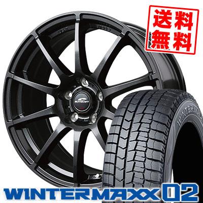205/70R15 96Q DUNLOP ダンロップ WINTER MAXX 02 WM02 ウインターマックス 02 SCHNEDER StaG シュナイダー スタッグ スタッドレスタイヤホイール4本セット