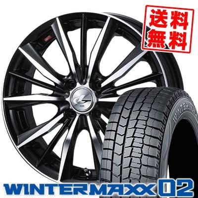 165/65R15 DUNLOP ダンロップ WINTER MAXX 02 WM02 ウインターマックス 02 weds LEONIS VX ウエッズ レオニス VX スタッドレスタイヤホイール4本セット