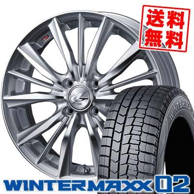 185/65R15 DUNLOP ダンロップ WINTER MAXX 02 WM02 ウインターマックス 02 weds LEONIS VX ウエッズ レオニス VX スタッドレスタイヤホイール4本セット
