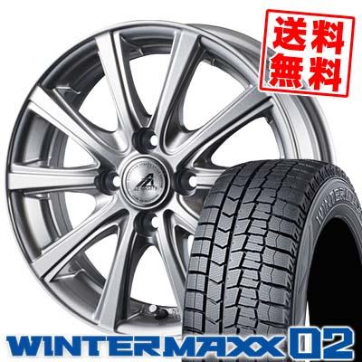 165/80R13 DUNLOP ダンロップ WINTER MAXX 02 WM02 ウインターマックス 02 AZ sports YL-10 AZスポーツ YL-10 スタッドレスタイヤホイール4本セット