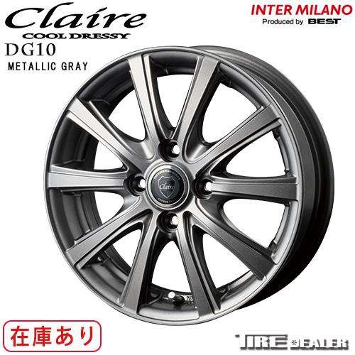 INTER MILANO インターミラノ CLAIRE DG10 15インチ 5.5J P.C.D:100 4穴 インセット:43 メタリックグレー ホイール4本セット アクア ノート 等に