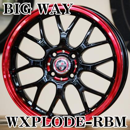 【アルミホイール単品4本価格】【16インチ】【BIGWAY/EXPLODE-RBM】【ビックウェイ/エクスプラウドRBM】【16X5.0J 4穴 PCD:100(RED)】【軽自動車全般】【DAYZ/N-BOX/N-WGN/スペーシア】表示は4本価格です