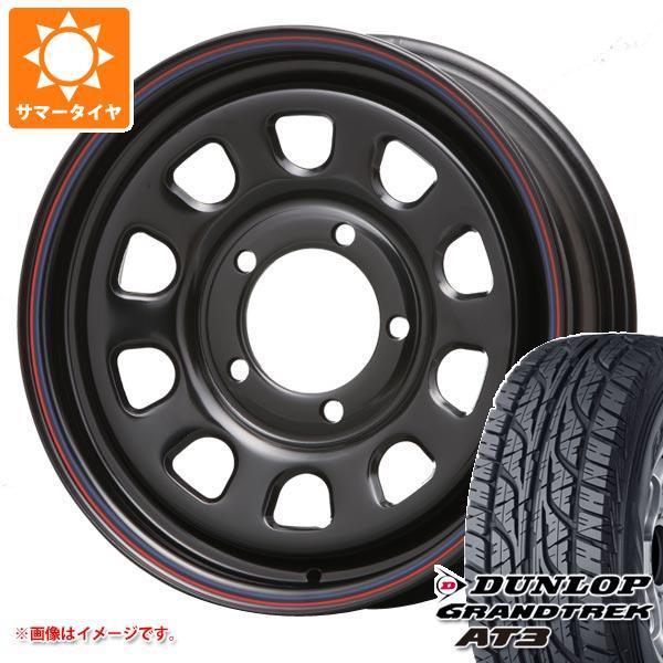 ジムニーシエラ専用 サマータイヤ ダンロップ グラントレック AT3 205/70R15 96S ブラックレター デイトナ SS ブラック 6.0-15 タイヤホイール4本セット