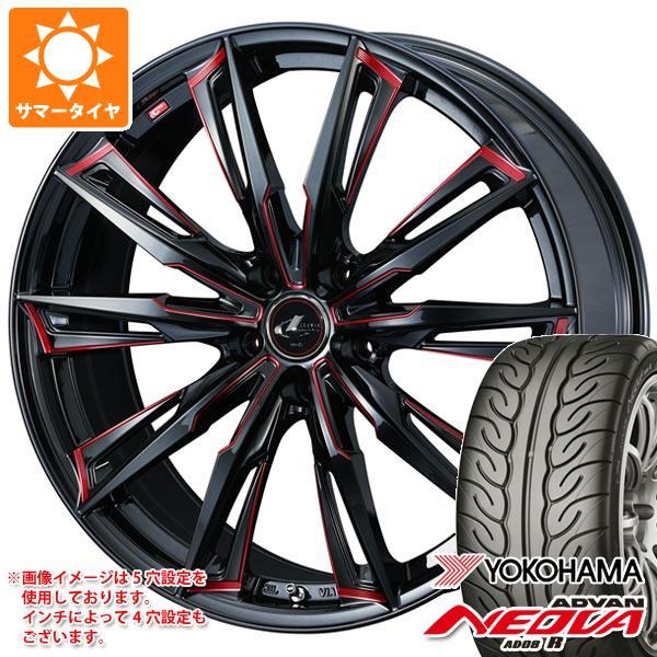 サマータイヤ 215/40R18 89W XL ヨコハマ アドバン ネオバ AD08 R レオニス GX BK/SC レッド 7.0-18 タイヤホイール4本セット
