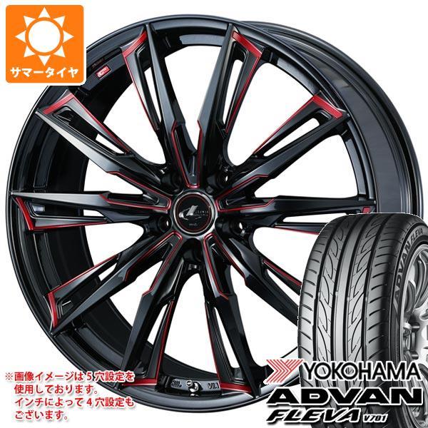サマータイヤ 225/40R19 93W XL ヨコハマ アドバン フレバ V701 レオニス GX BK/SC レッド 7.5-19 タイヤホイール4本セット