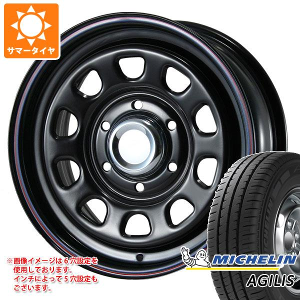 正規品 ハイエース 200系専用 サマータイヤ ミシュラン アジリス 195/80R15LT 107/105R(8PR) デイトナ SS ブラック 6.5-15 タイヤホイール4本セット