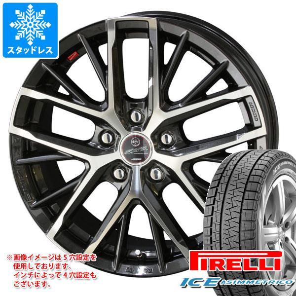 スタッドレスタイヤ ピレリ アイスアシンメトリコ 165/55R15 75Q & スマック レヴィラ 4.5-15 タイヤホイール4本セット 165/55-15 PIRELLI ICE ASIMMETRICO