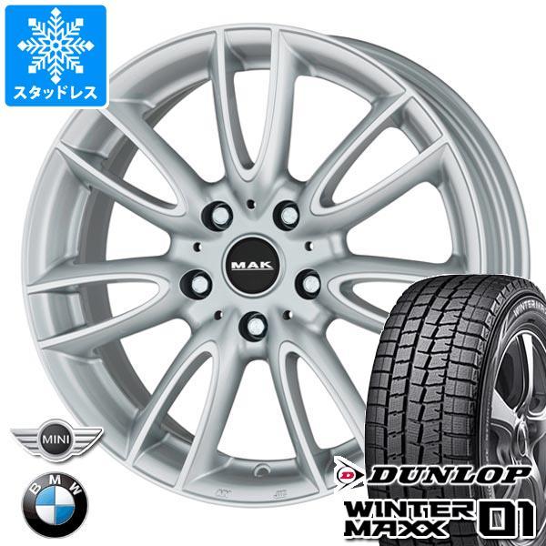 MINI ミニ F55/F56用 スタッドレス ダンロップ ウインターマックス01 WM01 175/65R15 84Q MAK ジャッキー シルバー タイヤホイール4本セット