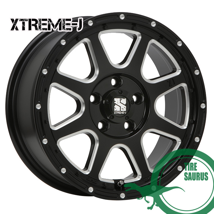 MLJ XTREME-J 17×7.5J PCD114/5 +38 グロスブラックミルド ホイール1枚 エクストリームJ