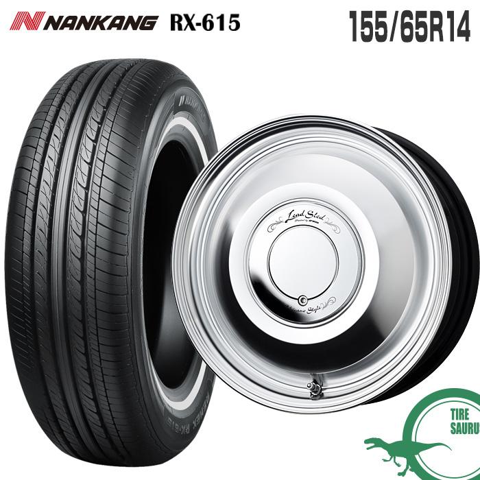 155/65R14 75H ホワイトリボンタイヤ RX615 ナンカン NANKANG レッドスレッド 14×4.5 100/4 +45 14インチ カットクリア CP サマータイヤ 4本ホイールセット RX-615 ワーク WORK Lead Sled