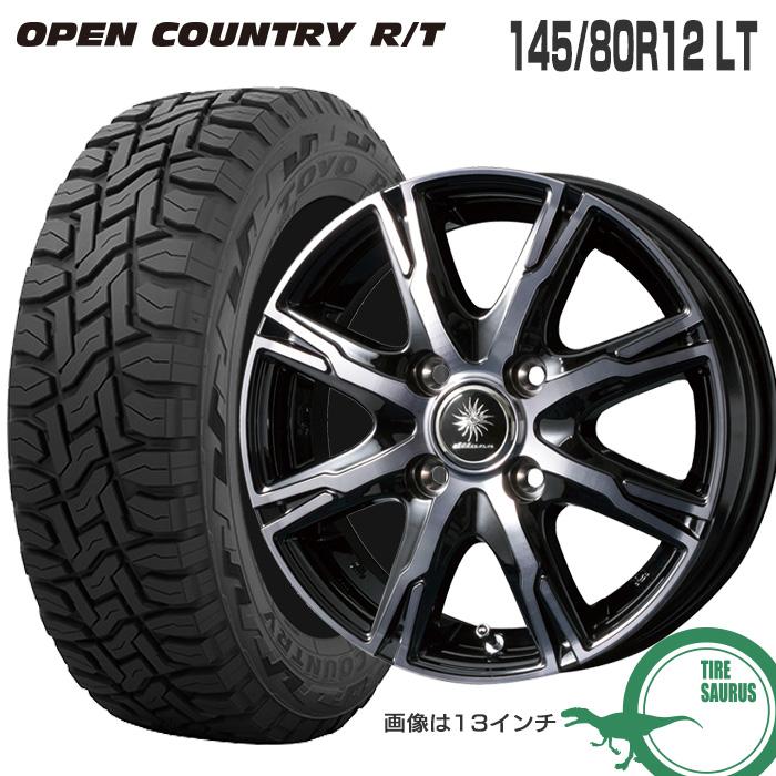 145/80R12 LT トーヨータイヤ オープンカントリー RTディルーチェ DX10 12×3.5 100/4 +44 JWL-T ブラッククリアポリッシュ (BCP) サマータイヤ 夏タイヤ 4本ホイールセット