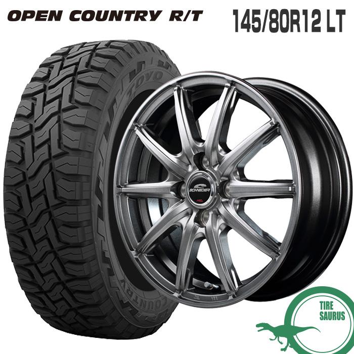 キャリィ DA16T/エブリィ DA17V 145/80R12 LT トーヨータイヤ オープンカントリー RTシュナイダー SG-2 12×3.5 100/4 +42 JWL-T メタリックグレー 12インチ軽トラック サマータイヤ 4本ホイールセット