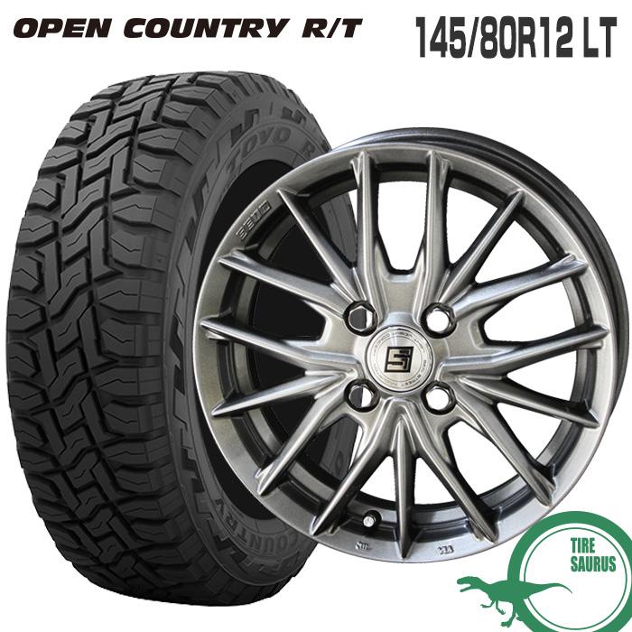 145/80R12 LT トーヨータイヤ オープンカントリー RTザインSX 12×3.5 100/4 +45 JWL-T 12インチ メタルフレークシルバー 軽トラック サマータイヤ 夏タイヤ 4本 ホイールセット RT