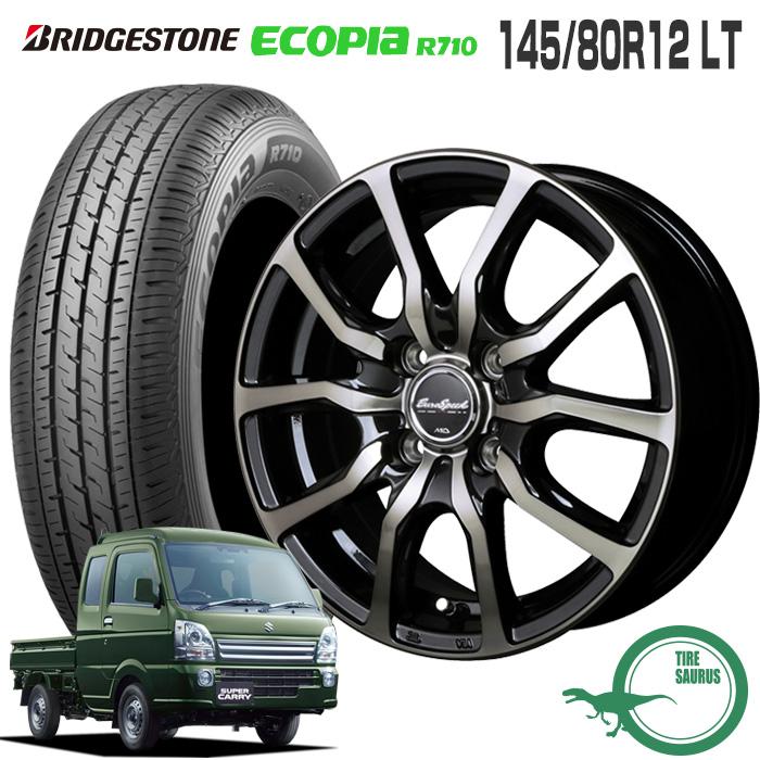 キャリィDA16T/エブリィDA17V 145/80R12 LT ブリヂストン エコピア R710ユーロスピード D.C.52 12×3.5 100/4 +42 JWL-T 12インチ軽トラック サマータイヤ 4本 ホイールセット