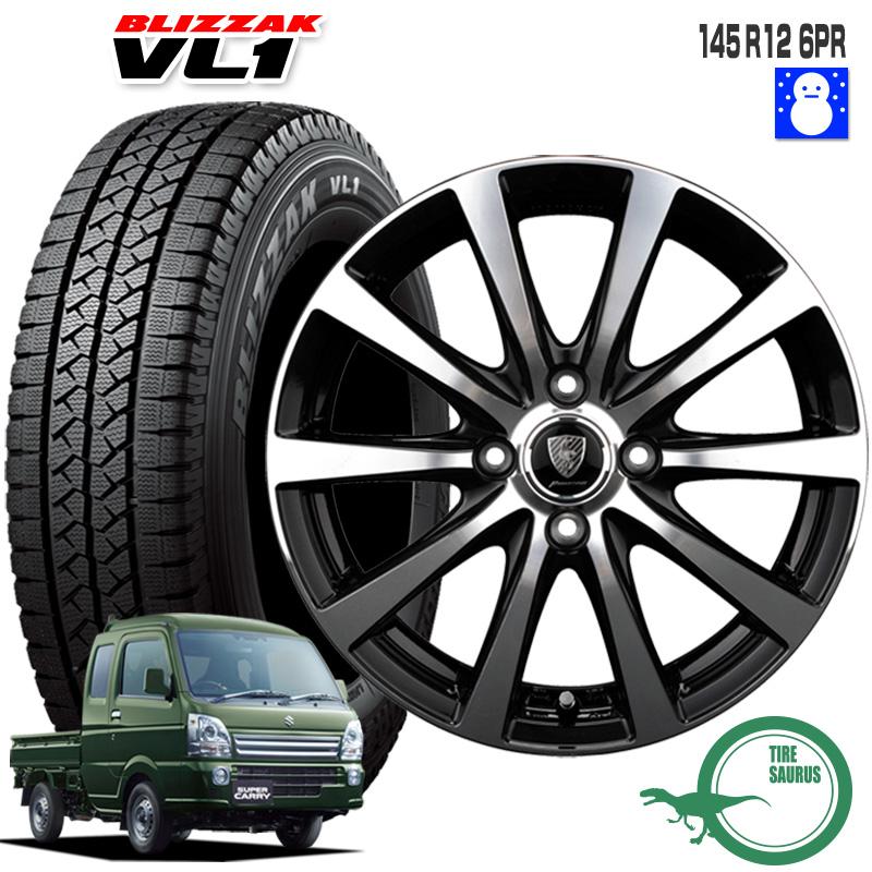 145R12 6PR ブリヂストン ブリザック VL1 ユーロスピード BL10 12×4.0 100/4 +42 JWL-T 12インチ ブラックポリッシュ 軽トラック 軽バン スタッドレス 4本 ホイールセット
