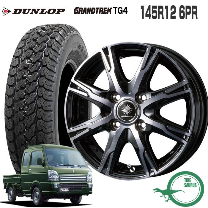 145R12 6PR ダンロップ グラントレック TG4ディルーチェ DX10 12×3.5 100/4 +44 JWL-T ブラッククリアポリッシュ (BCP)12インチ 軽トラック タイヤ 4本 ホイール セット
