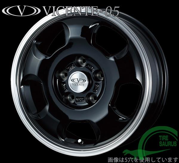 VICENTE-05NV 14×5.0J PCD114/4 +42 カラー:ブラックポリッシュ 【ヴィセンテ-05】 注)ホイール4枚です
