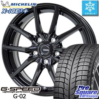 ミシュラン X-ICE XI3+ スリープラス エックスアイス スタッドレス スタッドレスタイヤ 225/55R18 HotStuff 軽量設計!G.speed G-02 ブラック ホイールセット 4本 18インチ 18 X 7.5 +55 5穴 114.3