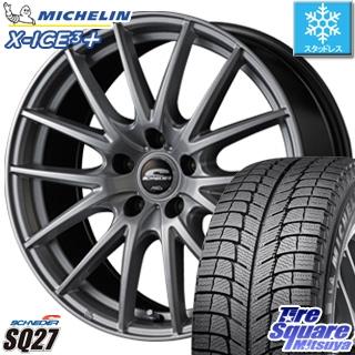 ミシュラン X-ICE XI3+ スリープラス エックスアイス スタッドレス スタッドレスタイヤ 225/55R18 MANARAY SCHNEDER SQ27 ホイールセット 4本 18インチ 18 X 8 +42 5穴 114.3