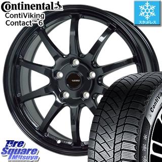 コンチネンタル スタッドレスタイヤ Viking Contact 6 バイキングコンタクト6 スタッドレス 195/55R16 HotStuff G-SPEED G-04 ブラック ホイールセット 4本 16インチ 16 X 6.5 +48 5穴 114.3
