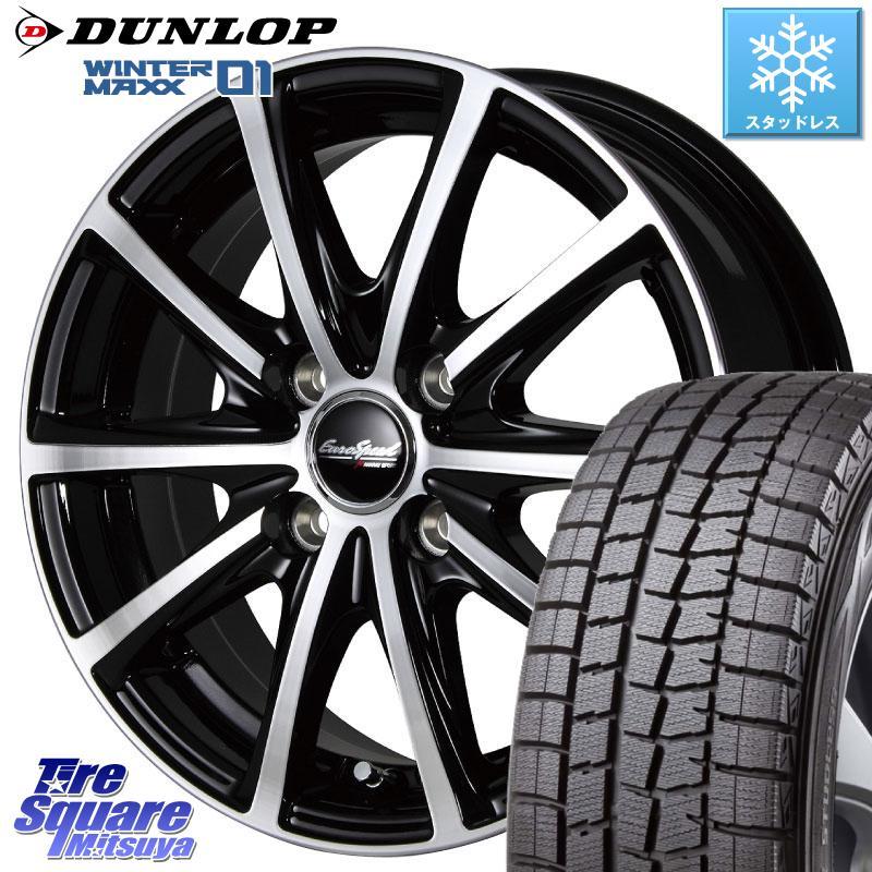 DUNLOP ウィンターマックス 01 WM01 軽自動車 ダンロップ スタッドレスタイヤ 155/65R14 MANARAY EUROSPEED V25 ホイールセット 14インチ 14 X 4.5J +45 4穴 100