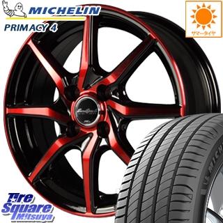 【5/10 Rカードで最大46倍】 MANARAY Euro Speed S810 レッド ホイールセット 15インチ 15 X 5.5J +45 4穴 100ミシュラン PRIMACY4 プライマシー4 正規品 サマータイヤ 195/60R15
