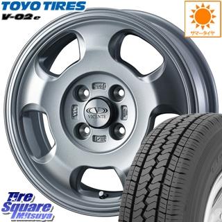 TOYOTIRES トーヨー V-02e V02e サマータイヤ LT165/*R14 6PR WEDS ヴィセンテ05 ホイールセット 4本 14インチ 14 X 5(JWL-T) +39 4穴 100