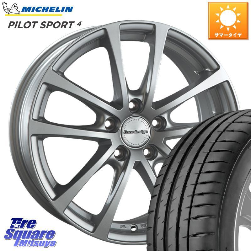 【10/15は最大27倍】【取付対象】 阿部商会 EuroDesign FOX-RF ホイールセット 17インチ 17 X 7.0J(VW) +48 5穴 112 ミシュラン PILOT SPORT4 ST 正規品 サマータイヤ 225/45R17